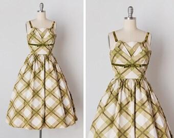 vintage 1950s dress / 50s plaid dress / plaid cotton dress / Ashland Plaid dress