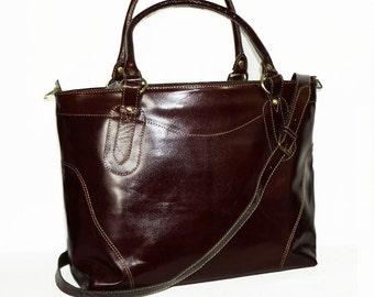 LEATHER TOTE bag // Cross-body Purse // Handbag // Travel Weekend Bag Nora XL in vintage brown
