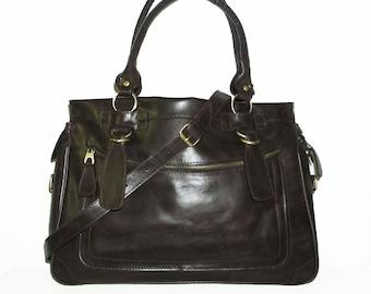 Glossy Dark Brown Leather Travel Bag Handbag Tote handbag cross-body bag Rina XXL fits a 17 inches laptop