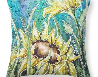 Sunflower Throw Pillow with Watercolor Painting- Home Decor Gifts for Gardeners or Flower lovers Bright Colors Pillow and Cover Summer