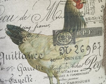 French Script and Ticking Pillow Cover  Mr. Rooster by Gathered Comforts