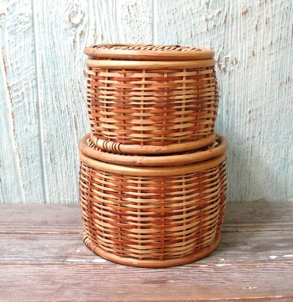 Image Result For Stacking Wicker Baskets With Lids