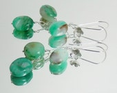 Peruvian Blue Green Opal and Sterling Silver Flower Earrings