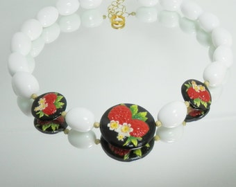 Strawberries on Porcelain and White Agate Necklace