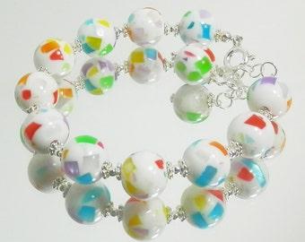 Vintage Multi-Color Confetti Plastic Bead and Sterling Silver Bracelet