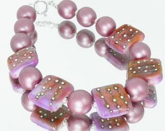 Czech Rose Matte Glass Pearls and Handmade Borosilicate Glass Bracelet