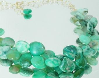 Peruvian Green Opal Ombre Briolette Drop Necklace