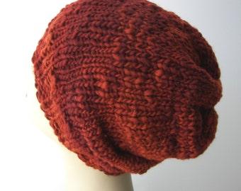 COPPER Beanie Slouch Ski Hat in 100% Extra Fine MERINO WOOL / handspun Merino Wool Hat / Warmest Hat Ever