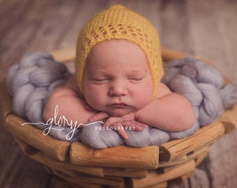 Newborn photo prop. Newborn mohair Lacey bonnet.