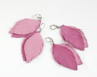Suede or leather feather earrings in pink rose