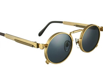 round sunglasses gold vintage Retro unisex Steampunk Goth spring on temples polarized lens NOS 1990s