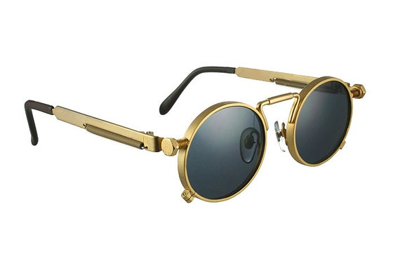 Retro Gold Frame Sunglasses : round sunglasses gold vintage Retro unisex Steampunk Goth