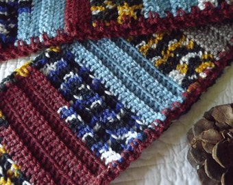 Sassy Multi Colored Crocheted Warm Winter Scarf Blue Rust Taupe Yellow Black White