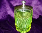 Uranium VASELINE Glass Canister Pickle CASTER JAR 1950's