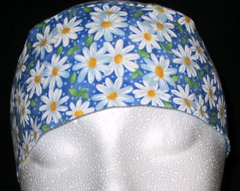 Blue w White Daisies Chemo Cap or Skull Cap, Hat, Hair Loss, Bald, Surgical Cap, Helmet Liner, Hat, Head Wrap, Bandana, Do Rag, Handmade