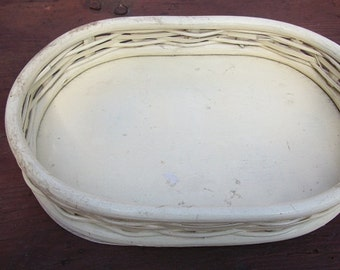 Vintage Adorable Small Painted Wicker Tray Oval