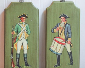 Vintage Revolutionary War Soldiers Wall Plaques for Boys Bedroom Decor, Patriotic Home Decor, Wall Hangings, Americana Art, History  Gift