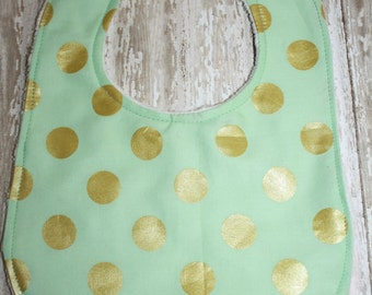 Baby Bib- Mint & Gold Polka Dot Bib with Minky Backing, Baby Boy Bib or Baby Girl Bib, Gold Baby Bib, Minky Baby Bib