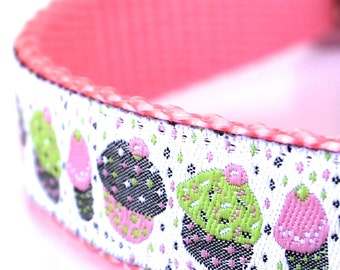 Sprinkle Cupcakes Dog Collar, Pink Muffins Pet Collar, Ribbon Adjustable, Girl, Birthday