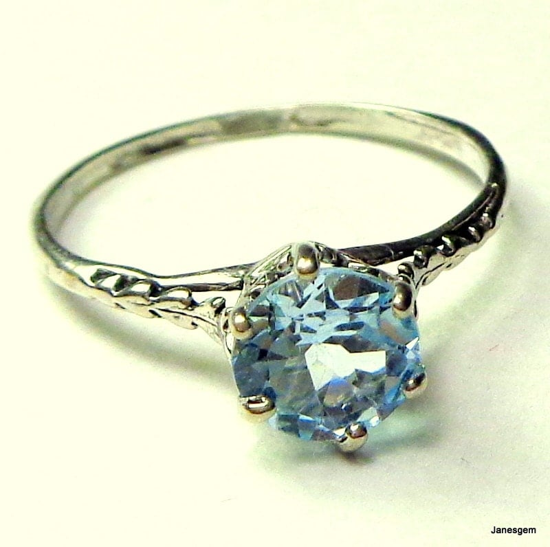 aquamarine antique ring sterling silver edwardian by