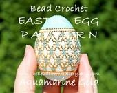 Easter Egg Pattern - Aquamarine Gold - Crochet PDF File TUTORIAL - Vol.18 with Swarovski Crystals