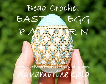 Easter Egg Pattern - Aquamarine Gold - Crochet PDF File TUTORIAL - Vol.18 with Swarovski Crystals