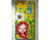 folk art Original magical girl poppy painting whimsical mixed media art painting on wood canvas 10x20 inches - Poppy garden