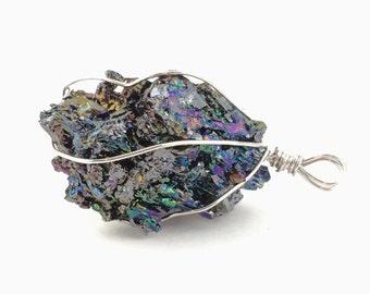 1pcs Black Raw Mineral Gemstone -  Iridescent Rough Aura DIY Wire-wrapped Pendants -Carborundum Nugget Rough Stone Rock Meteorite Supply H42