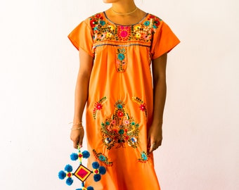 SALE Mexico Embroidered Dress Orange