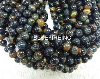 32pcs 12mm ruond smooth yellow Blue Tiger eye beads A Grade