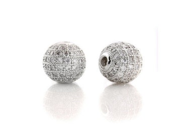 2 pcs White gold  Plated Clear White CZ Cubic Zirconia Pave Micro Setting Round Beads 12mm reserved 6 white gold, 10 yellow 9 gunmetal