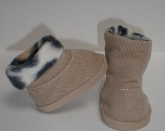 TAN & LEOPARD CORDUROY Boots 18 inch doll clothes