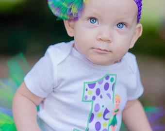 Custom Tinkerbell Birthday Shirt + Tutu Outfit (any age) Lime green, green, purple and grape