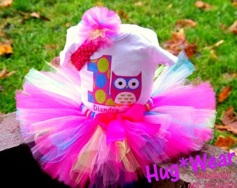 Custom Personalized Owl Birthday Shirt + Tutu Outfit (any age) Pinks blue lime green