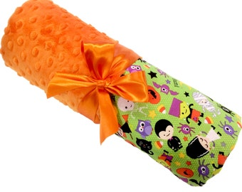 Halloween Blanket with Orange Dot Minky Personalization Included