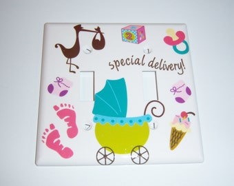 "Colorful ""Special Delivery"" Baby Double Light Switch Cover"