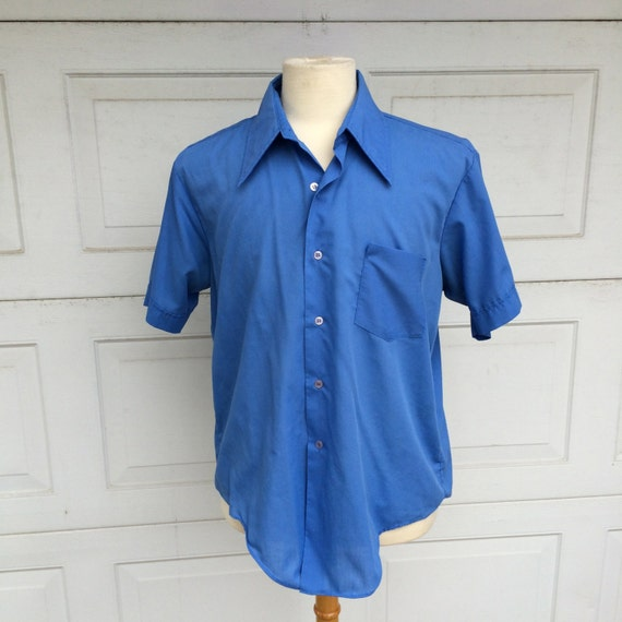 Royal blue men 39 s button up shirt 60s 70s vintage short for Royals button up shirt