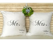 Bride and Groom Gifts | Mr. and Mrs.Wedding Pillows | Shabby Chic Decor - Bridal Shower - Inserts Included