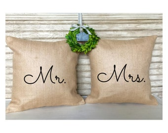 Barn Wedding Pillows | Rustic Wedding Decor | French Country | Burlap Pillows - Mr. and Mrs. - Wedding - Bridal Shower - Inserts Included