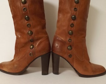 Vintage Frye Boots Brown Leather Knee High Piper Stud 9.5