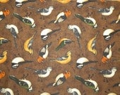 Debbie Mumm for Joann Fabric & Craft Store Bird Print on Brown background