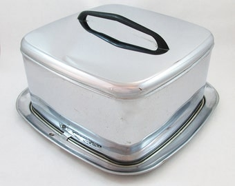 "Mid-Century Stainless Steel Lincoln Beautyware Cake Keep - Cake Server - ""Retro Sweetness"""