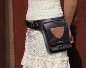 Leather Utility Belt Bag Hip Purse Festival Belt with Pockets in Brown HB22h *Free Shipping*
