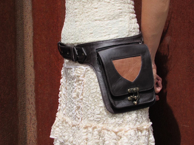 leather utility belt bag hip purse festival belt with pockets. Black Bedroom Furniture Sets. Home Design Ideas