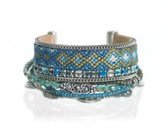 Bohemian chic multistrand bracelet - friendship bracelet set in teal and khaki - hippie bracelet - multiple strands hand woven bracelet