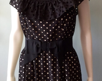 Vintage 1970s black eyelet off the shoulder maxi dress