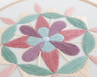 Pastel Mandala Hand Embroidery Hoop Art, 5 inch Embroidery Hoop Fiber Art in Soft, Neutral Colors For the Home