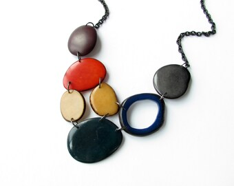 Tagua nut jewelry. Blue Green Orange Necklace. READY TO SHIP Jewelry. Gray Necklace. Orange Necklace. Cobalt necklace. Sela Designs.