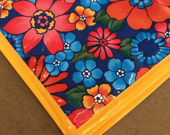 Betty's Bunch navy Oilcloth Tablecloth with Yellow Trim