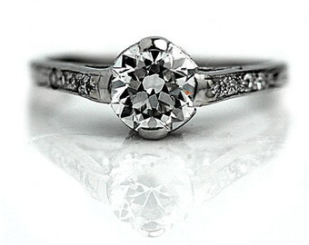 Vintage Platinum Engagement Ring Antique European Cut Diamond Vintage Diamond Engagement Ring 0.90ctw Art Deco Diamond Wedding Ring Size 4!